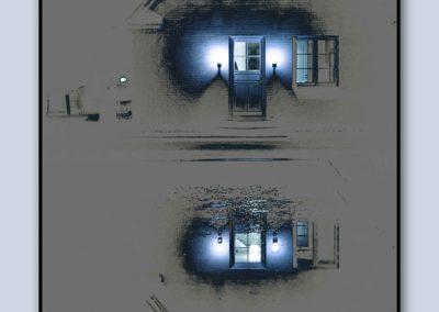 Spejling hus blå
