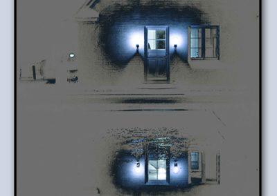 Spejling hus blå 1 med ramme